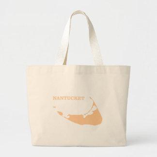 Nantucket Island in Sand Large Tote Bag