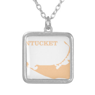 Nantucket Island in Sand Silver Plated Necklace