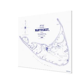 Nantucket Island MA Vintage Map Navy Blue Canvas Print