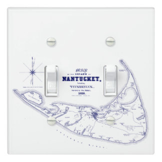 Nantucket Island MA Vintage Map Navy Blue Light Switch Cover