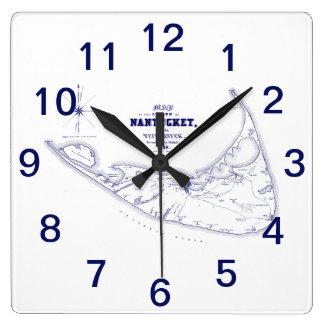 Nantucket Island MA Vintage Map Navy Blue Square Wall Clock