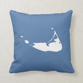 Nantucket Island Map Reversible Square Pillow