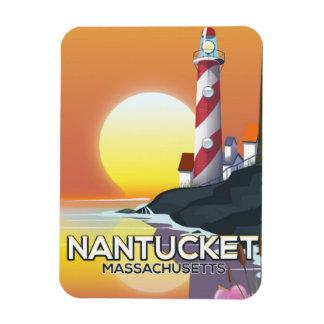 Nantucket Massachusetts lighthouse travel poster Rectangular Photo Magnet