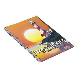 Nantucket Massachusetts lighthouse travel poster Spiral Notebook