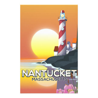 Nantucket Massachusetts lighthouse travel poster Stationery