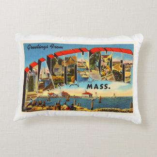 Nantucket Massachusetts MA Vintage Travel Souvenir Accent Pillow