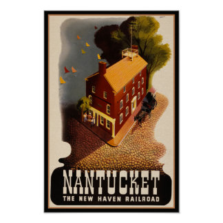 Nantucket Massachusetts Retro Rail Travel Poster