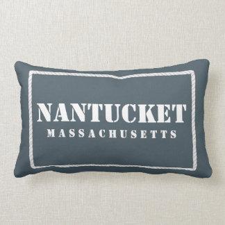 Nantucket Massachusetts Reversible Blue & Teal Lumbar Pillow