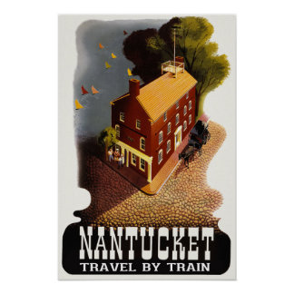 Nantucket Massachusetts Vintage Travel Poster