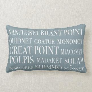 Nantucket Place Names Blue Hazelnut & White Lumbar Pillow