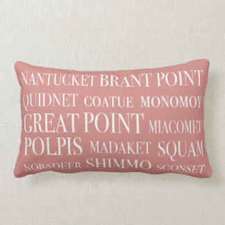 Nantucket Places Faded Red Beige & White Lumbar Pillow