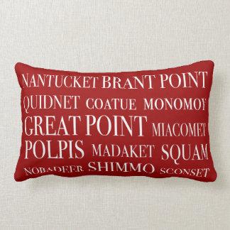 Nantucket Places Nautical Red & White Lumbar Pillow