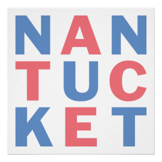 Nantucket red and blue typographic poster #2