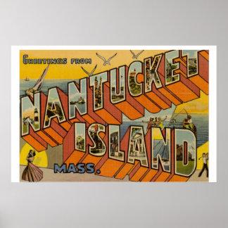 Nantucket Vintage Postcard large Poster
