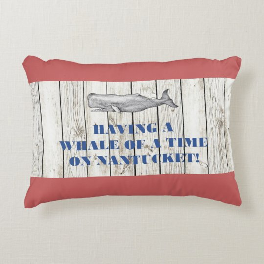Nantucket Whale of a Time on Red Pillow