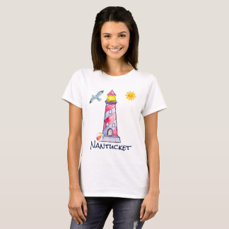 Nantucket with a Red Striped Watercolor Lighthouse T-Shirt