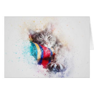 Nap Time Kitty | Abstract | Watercolor Card