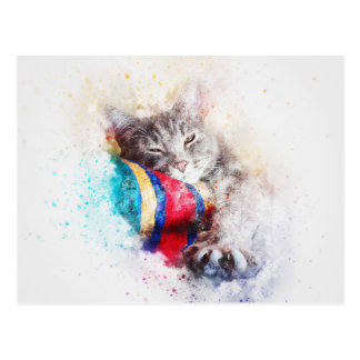 Nap Time Kitty   Abstract   Watercolor Postcard