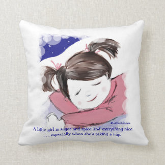 Nap Time-Little Girl-Funny Saying Throw Pillows