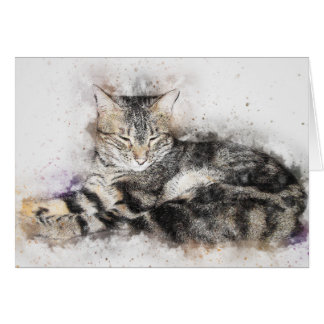 Nap Time Tabby | Abstract | Watercolor Card