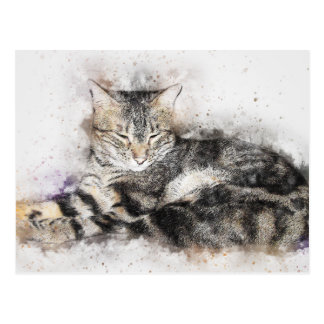 Nap Time Tabby | Abstract | Watercolor Postcard