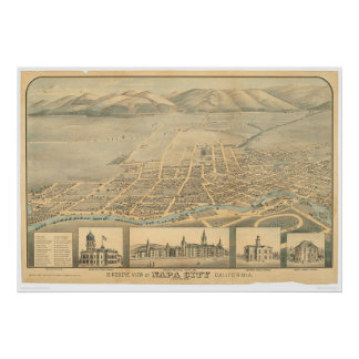 Napa, CA. Panoramic Map (0684A) Poster