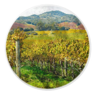 Napa Valley California Vineyard Ceramic Knob