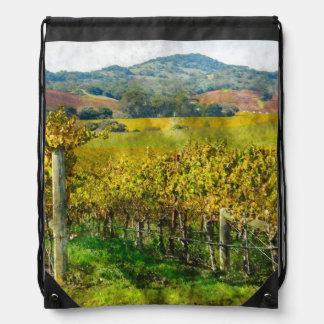 Napa Valley California Vineyard Drawstring Bag