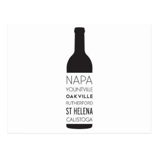 Napa Valley Cities Wine Bottle Postcard