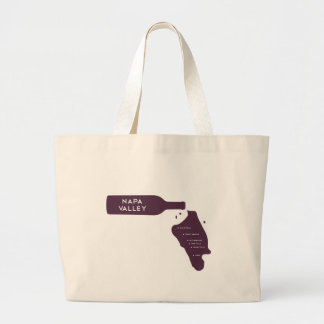 Napa Valley Cities Wine Bottle Spill Logo Large Tote Bag