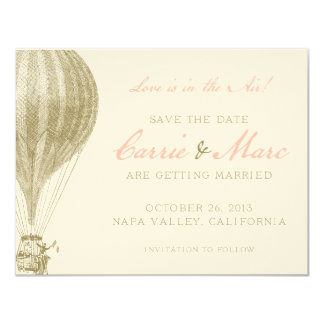Napa Valley Vintage Hot Air Balloon Save the Date Card