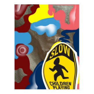Napkin Slow Children Playing Postcard