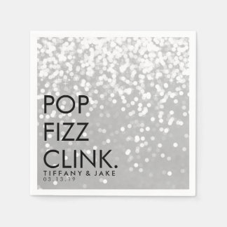 Napkin - Sparkling Pop Fizz Clink Silver Disposable Napkins
