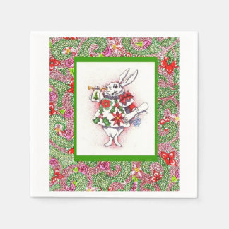 "napkins (50) with ""Holiday White Rabbit"" design Disposable Napkins"