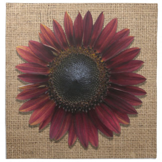 Napkins - Cloth - Burlap and Bordeaux Sunflower