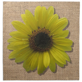 Napkins - Cloth - Burlap & Rain-Drenched Sunflower