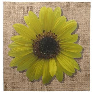 Napkins - Cloth - Burlap & Rain-Drenched Sunflower
