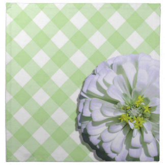 Napkins - Cloth - Lemony White Zinnia on Lattice