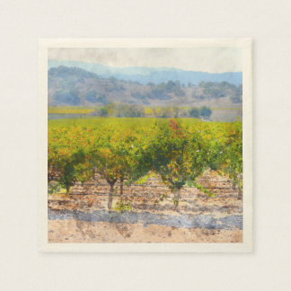 Napkins for Cocktail Party with Wine Artwork Disposable Napkin