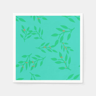 Napkins of Berries and Leaves on a Blue Background Paper Napkins