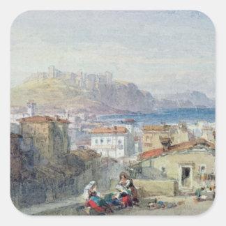 Naples, 19th century; watercolour; square sticker