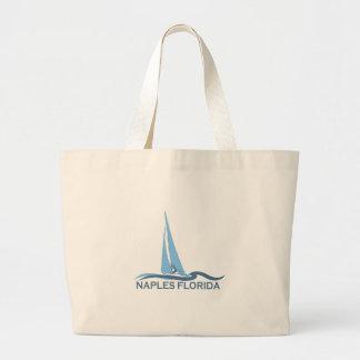 Naples Beach - Sailing Design. Large Tote Bag