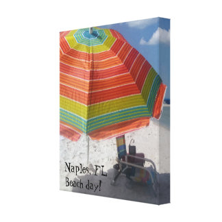 Naples, FL Beach day Colorful Beach Picture Canvas Print