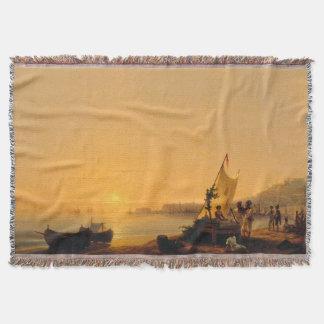 Naples Italy Coast Fishing Boats Throw Blanket