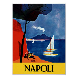 Naples, Italy travel poster