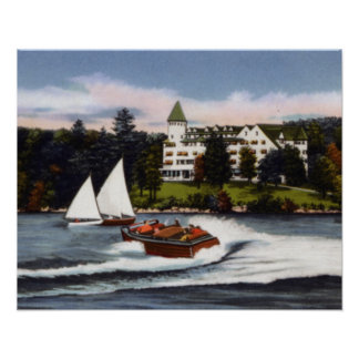 Naples Maine Boating on Long Lake Poster