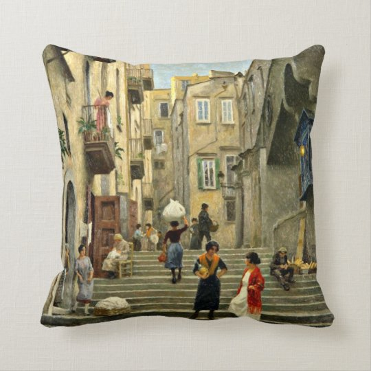 Naples Street Scene - Paul G. Fischer painting Throw Pillow