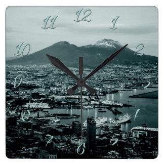 Naples Vesuvius Square Wall Clock