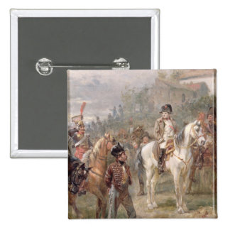 Napoleon and his Troops (oil on panel) (pair of 12 2 Inch Square Button