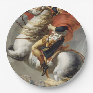 Napoleon Crossing the Alps by Jacques Louis David Paper Plate